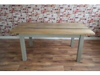 Chunky Hardwood Slab-Style Rustic Dining Table Six-Seater Oak Farmhouse Table