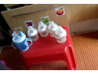 4 Tommee Tippee baby bottle with teats nr 1 + free easy flow bottle with handles