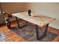 Handmade Industrial Dining Table - Uprated Trapeze Frame