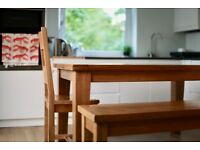 Half Price Vancouver Oak Furniture! Dining Table, bench, chairs, bedside table, TV Unit