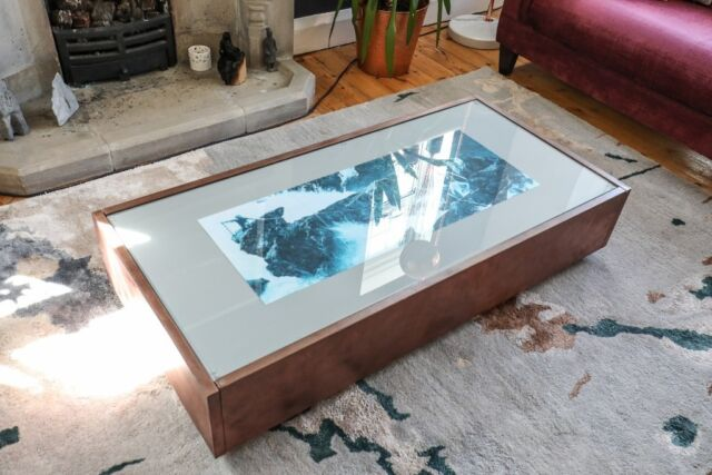 Copper And Light Grey Glass Top Coffee Table With Drawers For Storage In Thames Ditton Surrey Gumtree