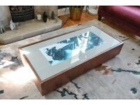 Copper and light grey glass top coffee table with drawers for storage