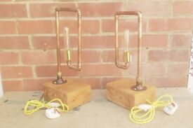 Industrial Style, Copper Pipe, Antique Pine, Steam Punk, Bedside Table Lamp/s