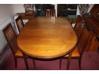 1979 G Plan Teak Extending Oval Table, 6 Chairs and Sideboard