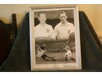 Framed and signed photograph of Sir Tom Finney. Authenticated certificate