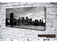 Large Canvas of Brooklyn Bridge New York Mint condition Chunky box frame 48cm X 120cms