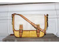 Coach Colorblock Yellow Tan White Messenger Bag Retro Designer Leather Crossbody