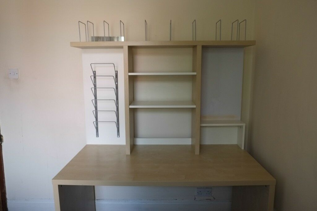 Large Ikea Desk With Removable Top Shelf Unit Quick Flat Pack Parts Incl Good Space
