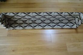 Curtain box pelmet padded: Luxurious upholstery material in cream/beige with black & gold pattern
