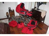 Red Silver Cross 3 way system Pram/Stroller/Car seat + Accessories
