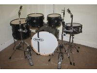 Mapex Horizon Transparent Black 5 Piece Full Drum Kit with Sabian Solar Hi Hat and Cymbal Set