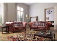 BRAND NEW - Chesterfield Suede Leather 3 and 2 Seater Sofa Suite Settee Cherry Brown Color
