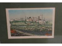 Vintage Framed Silk Print Edmonton, Alberta, Canada. Ltd Edition By George Weber Art Picture