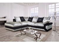 """""""Super Luxurious""""! """"Black/Silver""""! New Dino Crushed Velvet Corner Sofa Or 3 and 2 Seater Sofa Suite"""