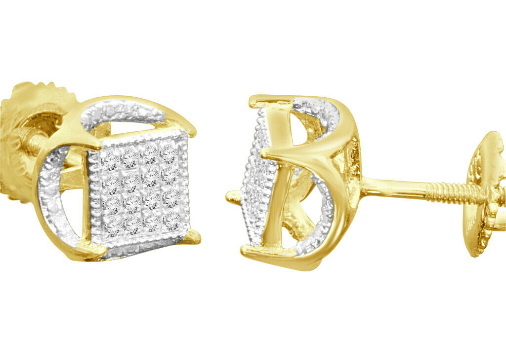 .11 CARAT YELLOW GOLD FINISH MENS WOMENS 5 mm 100% REAL DIAMONDS EARRINGS STUDS