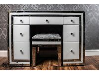 NEW White mirrored 7 drawer dressing table + optional stool - SWFurnishings