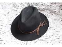 Black 100% Wool Fedora Hat