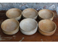 Set of 6 Vintage Handturned Stackable Wooden Bowls Made from Beech Hand Made Serving Bowls Storage