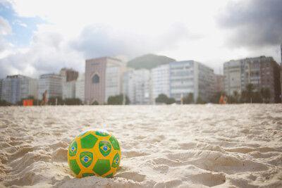 Brazilian Soccer Ball Copacabana Beach Photo Art Print Poster - Soccer Beach Ball