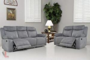 FREE Delivery in Montreal! Volo Fabric Reclining Sofa and Loveseat Set!