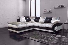 SUPER LUXURIOUS ARABIAN STYLE NEW DINO CRUSHED VELVET CORNER/3+2 SUITE IN BLACK AND SILVER COLOUR