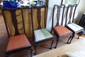 Set of 4 antique mahogany dining chairs