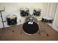 PDP Pacific (DW) FX Series Sapphire Black 5 Piece Full Drum Kit + Sabian Solar Cymbal Set