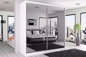 "EXPRESS DELIVERY""CHICAGO 2 DOOR SLIDING WARDROBE WITH FULL MIRROR"