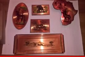 vintage copper wall plaques set can separate