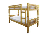 Solid, Brazilian Pine, Bunk Bed, single, 9 inch Sprung, Sprung, Mattress. trasforms to single beds,