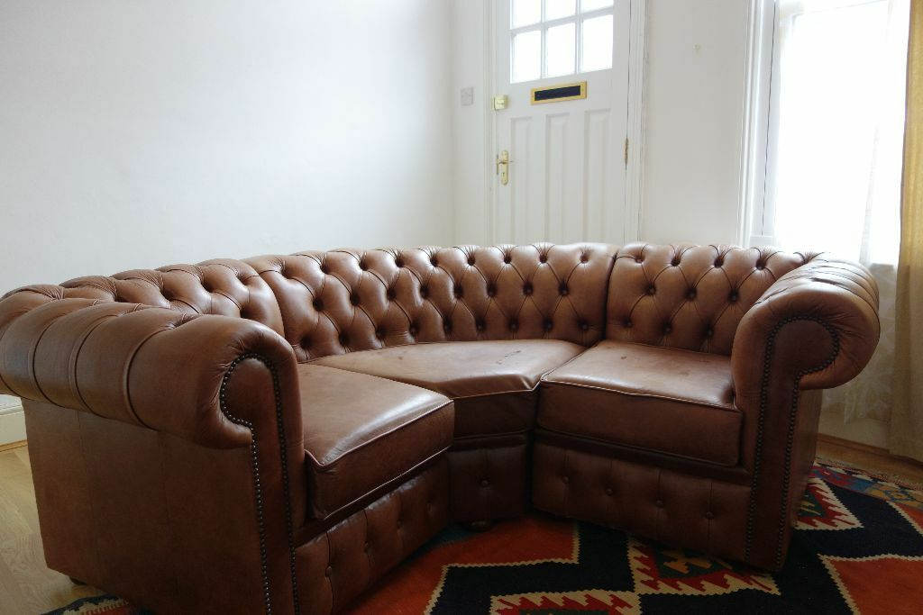 Custom Curved Chesterfield Sofa Fits Perfectly In A Bay