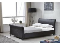 Modern Faux Leather King Size 5ft Sleigh Bed