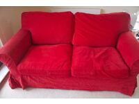 IKEA Ektorp 2 Seater Sofa with Red Corduroy Covers - Great Condition - Covers still sold at IKEA!