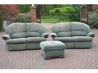 Reclining sofas & foot stool with storage
