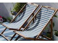 2 retro style deck chairs