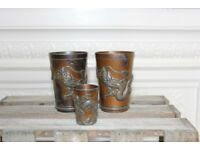 Three Antique Metal Cups Dragons Chinese Early 20th Century Dragon Vintage Set