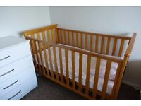 Baby Cot/Crib with Mattress in excellent condition - Maidenhead