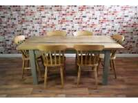 Solid Hardwood Chunky Slab Rustic Farmhouse Dining Table Set - Six Seater