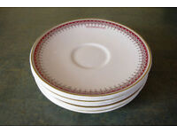 7 Ridgway Potteries Ltd white saucers 'A V Goodhew Ltd' with decorated border at rim. 33.50 ovno lot