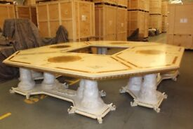 Versace Style Hexagonal Dining Table & 16 Matching Chairs