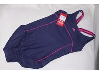 SLAZENGER Girls Racer Back Swimsuit (Size 13 years / XLG) - NAVY / PINK - NEW with TAGS