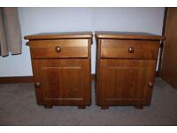 Set of oak bedside tables / cabinets