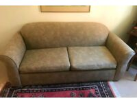 SOFA BED, Large, grey, floral patterned sofa, double bed with mattress in excellent condition