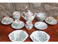 Antique 13 Piece Vintage Victorian Childs Ceramic Teaset C. 1881 Ridgway Pottery Maiden Hair Fern