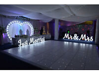 White Starlit Dance floor Wedding Deco LED Letters Heart Frame Throne Chairs Chair Covers PACKAGES