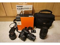 Sony Alpha a390 DSLR. Includes 3 lenses, bag, 2 batteries, 2 UV filters. Boxed