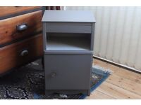 Bedside table and cupboard, vintage, upcycled, Greys.