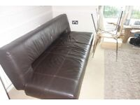 Real Leather Sofa Beds x 2 - Chocolate Brown - Superb Condition - £450 in total for 2