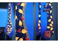Rare collectible designer Italian silk neck ties collection Carnaval, Versace, Alessandro