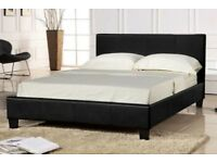 🌷💚🌷DON'T MISS OUT🌷💚🌷DOUBLE 4FT6 & KING SIZE 5FT LEATHER BED FRAME + SEMI ORTHOPEDIC MATTRESS